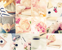 花朵咖啡人物摄影高清图片