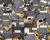 办公室咖啡纸张笔摄影高清图片