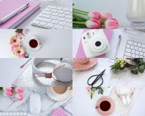 办公键盘咖啡书本摄影高清图片