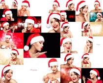 圣诞帽国外美女摄影高清图片