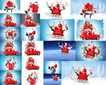 圣诞老人与汽车摄影高清图片