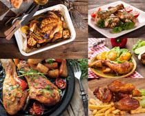 鸡腿薯条食物拍摄高清图片