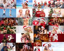 圣诞欧美情侣拍摄高清图片