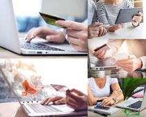 银行卡笔记本购物摄影高清图片