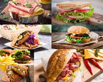 汉堡包薯条展示摄影高清图片