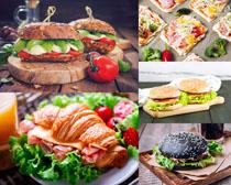 汉堡包与西红柿摄影高清图片