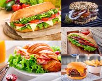 蔬菜火腿汉堡包摄影高清图片