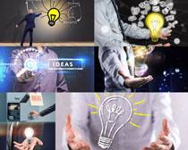 灯泡展示与商务男士摄影高清图片