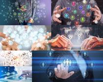 科技图标与办公人士摄影高清图片
