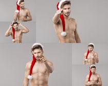 圣诞帽国外男子摄影高清图片