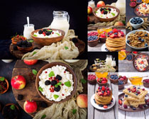 早餐饼与牛奶摄影高清图片