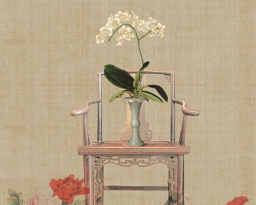 古典椅子与花朵PSD素材