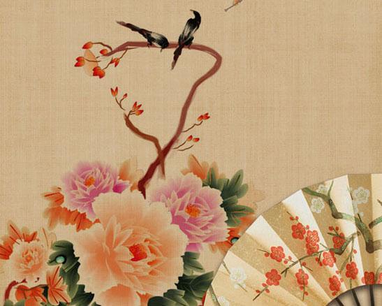 绘画花朵与小鸟PSD素材