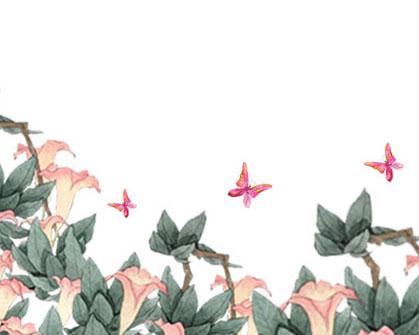 绿色花朵绘画PSD素材