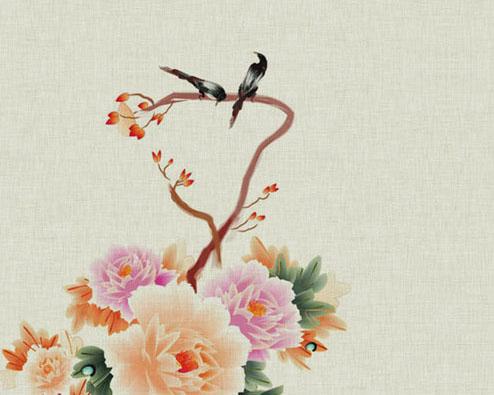 传统绘画花朵PSD素材