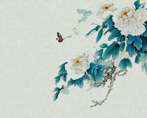 仙鹤与花朵PSD素材
