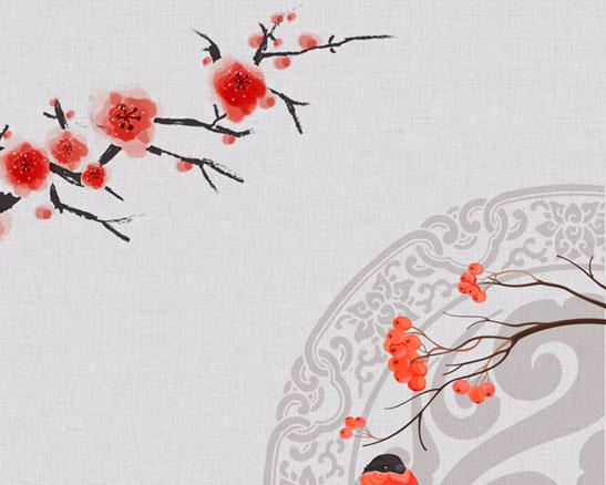 梅花枝头上的小鸟PSD素材