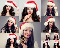 圣诞帽子美女摄影高清图片