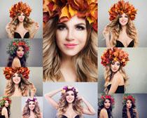 叶子花环美女摄影高清图片