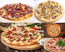 海鲜肉披萨摄影高清图片