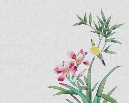 水墨风绘画花朵PSD素材
