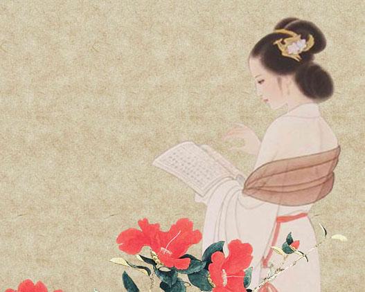 古典美女花朵PSD素材