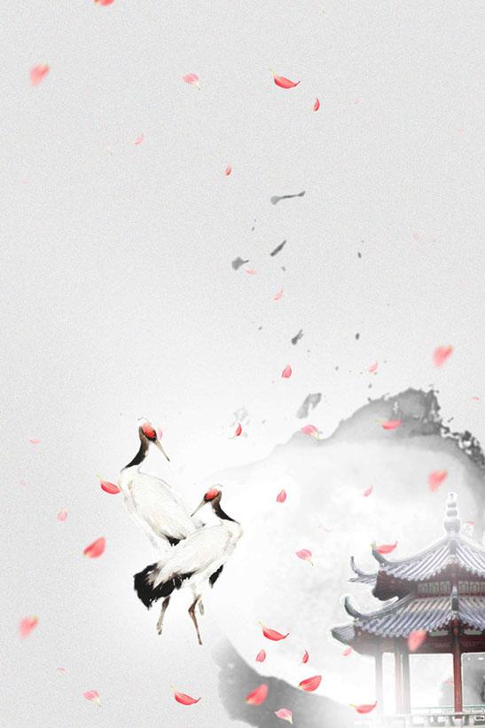 文化艺术 > 素材信息   关键字: 山水风景仙鹤绘画水墨背景中国风书画