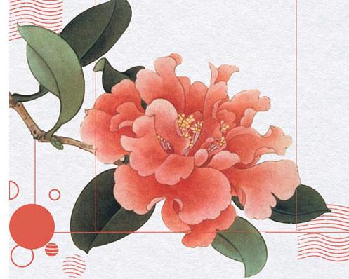 红色花朵艺术画PSD素材