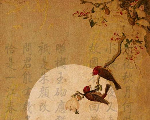 背景文字中国风绘画PSD素材