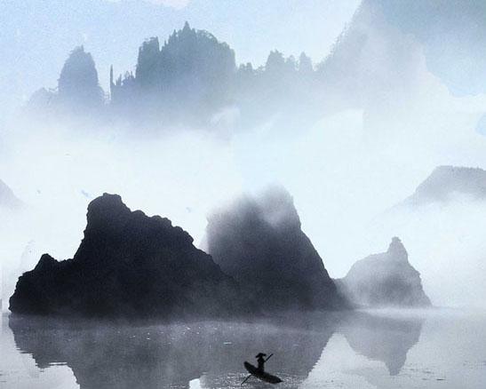 山水风景绘画PSD素材
