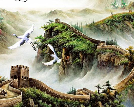 中国长城绘画PSD素材