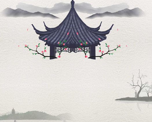 湖水亭子绘画PSD素材