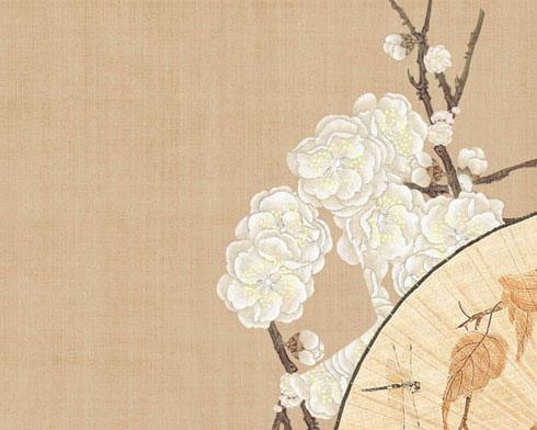传统工笔画花朵PSD素材