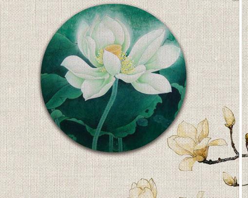 封面花朵工笔画PSD素材