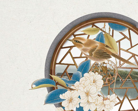 古典窗户花朵PSD素材