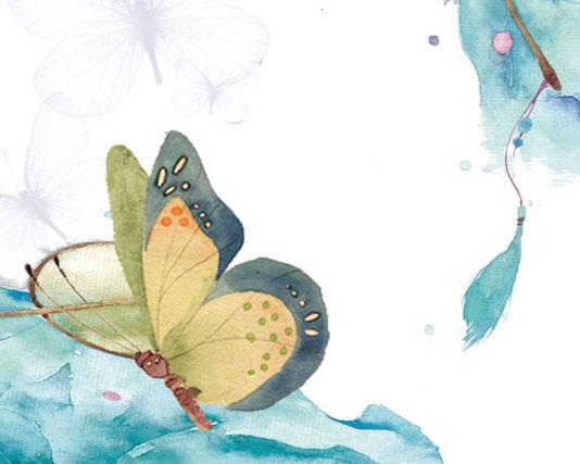 水墨蝴蝶绘画PSD素材