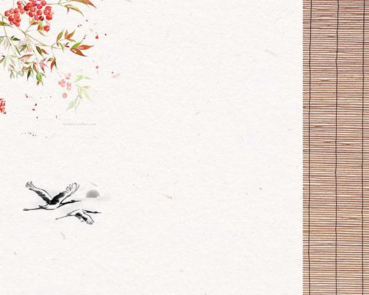 花朵小鸟画PSD素材