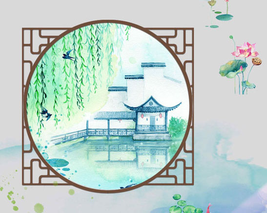 中国风水墨画PSD素材