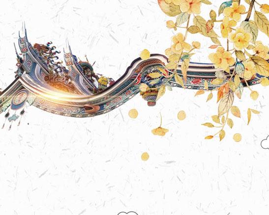 屋檐中国风绘画PSD素材