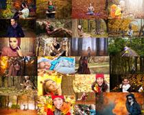秋天景色美女摄影高清图片