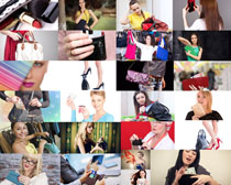 歐美女人與包包攝影高清圖片