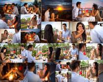 烛光晚餐情侣摄影高清图片