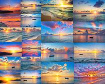 夕阳天空与大海摄影高清图片