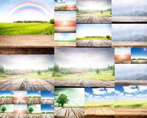 木板风景彩虹摄影高清图片