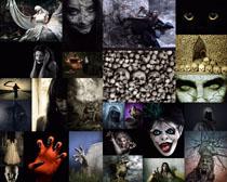 恐怖的人物装扮摄影高清图片