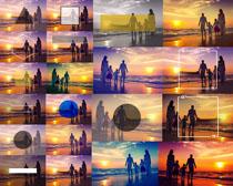 夕阳海边一家人摄影高清图片