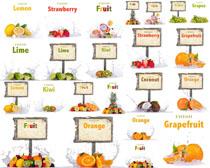 水果与展示牌摄影高清图片