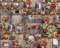 蔬菜组合与笔记本摄影高清图片
