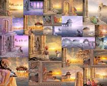 古建筑与人物摄影高清图片