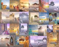 古埃及建筑与人物摄影高清图片